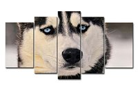 5 Piece Wall Art Painting Siberian Husky With Blue Eyes Pictures Prints On Canvas Animal The Picture Decor Oil Print For Bedroom