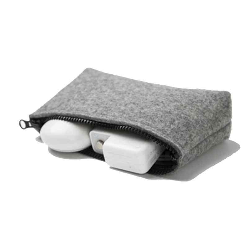 유니섹스 지갑 동전 지갑 펠트 디지털 스토리지 가방 usb 케이블 충전기 이어폰 케이스 파우치 전자 가제트 주최자 내구성