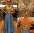 Imagen Real 2016 de noche vestidos cucharada sin mangas Backless del tren del barrido 2015 de la gasa Crystal Formal de los vestidos Beads partido largo del vestido