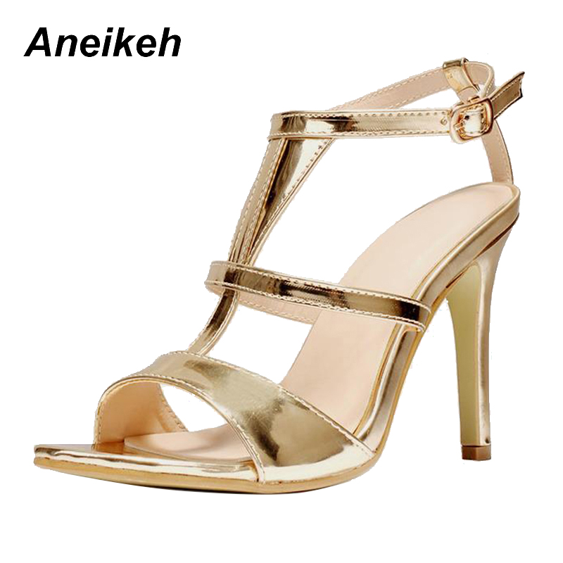 Aneikeh Sexy Stiletto Thin High Heels Gold Open Toe Sandals 2018 Fashion  T-Strap Sandals