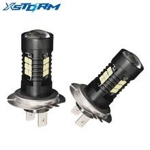 2 adet araba sis farları H7 lamba süper parlak LED 12V 24V 6000K beyaz araba sürüş 21 3030 SMD koşu işık otomatik Led H7 ampul