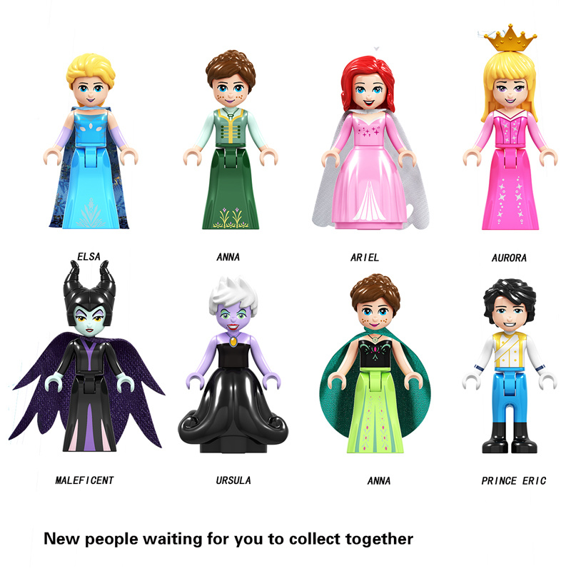 Disney Princess Legoings Figures Friends Frozen Anna Elsa Mermaid Ariel Snow White Aurora Building Blocks Bricks Toys Model Gift jg303 building blocks arendelle castle princess anna elsa buildable snow queen figures sy371 with blocks kids toys gift page 8