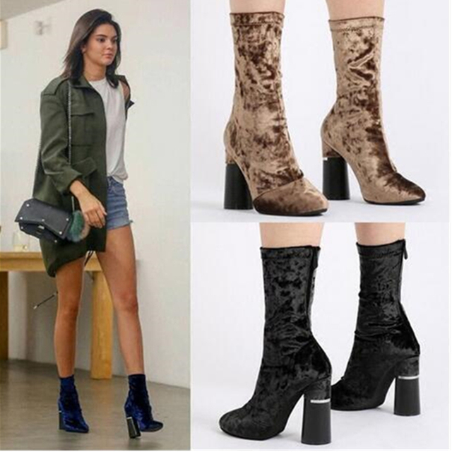 775aa12d0d6e Hot New Fashion Gold Blue Black Stretch Velvet Block-Heel Ankle Booties  Celebrity Women Boots Zip High Heels Shoes Zapatos Mujer