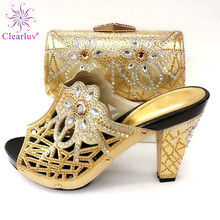 Clearluv New Fashion Italian Shoes With Matching Bags African High Heel Women Shoes and Bags Set For Prom Party cheap Mary Janes Spike Heels Super High (8cm-up) Fits true to size take your normal size sexy CRYSTAL Spring Autumn Round Toe