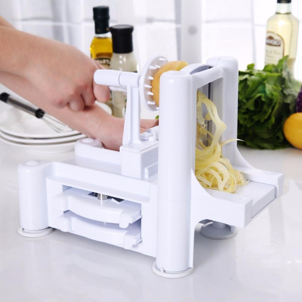 Household Essential Tri-Blade Slicer Vegetable Spiral Cutter Mandoline Chopper Cooking Tools Kitchen Spiralizer Knife icoco 1 set tri blade plastic spiral