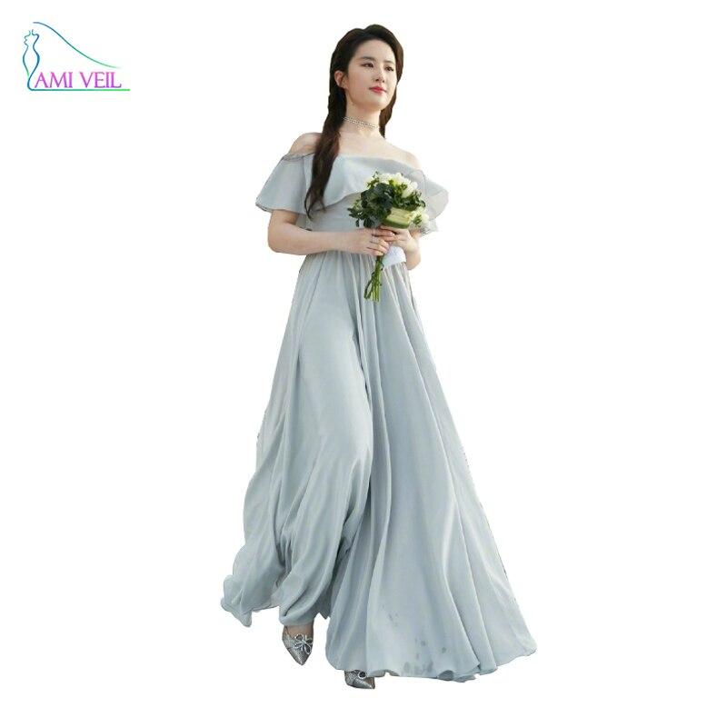 Chiffon Cheap Long Bridesmaid Dress Plus Size Ruffle Coral Color ...