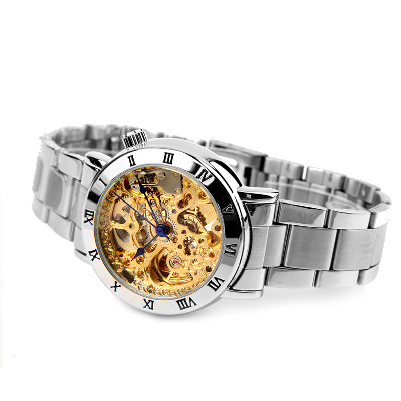 S2SQURE Ms. Sagada new mechanical watch fashionable characteristic blue needle hollowed-out gold plate wristwatch female seasonal 3152323 hollowed out pocket watch