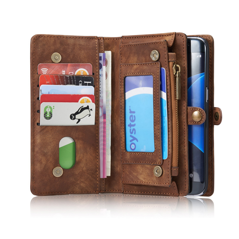 Samsung Wallet Lusso Sacchetto Vibrazione deep green Cuoio Zipper Per Caso Bordo Card Magnetica Brown Slot Retro Galaxy Del red Black Casi Genuino Di S7 gOTRx8qP