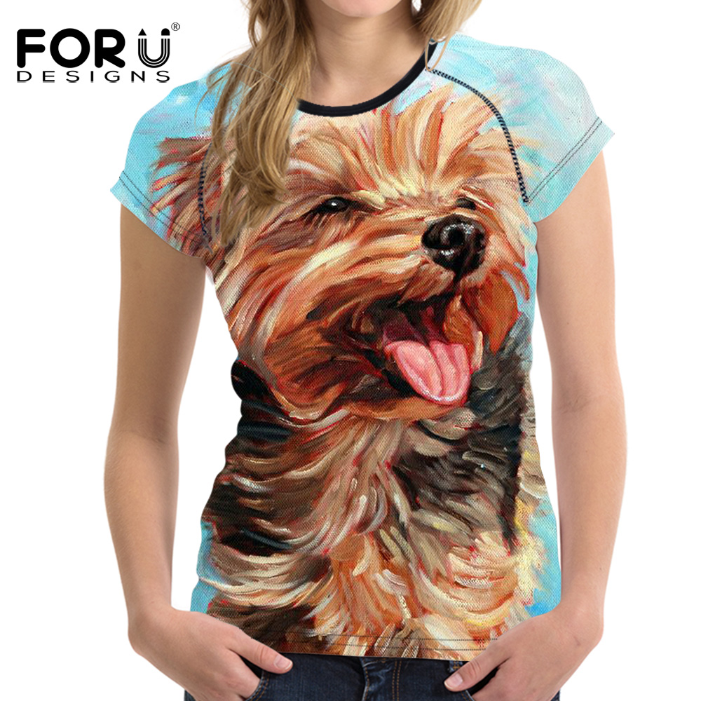 FORUDESIGNS Woman Tops T-shirt Cute Yorkshire Elephant Horse Short Sleeved Funny T Shirts For Girls Womens Slim Feminine Clothes