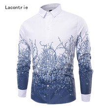 2017 Brand Dress Male Shirt The New Men'S Large Size Tree Rattan Print Casual Long-Sleeved Shirt M-4XL