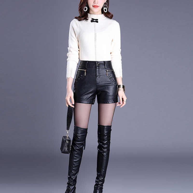 2e3c458f6c395 ... 2019 Newnew winter pu leather shorts women boots high waist fashion  shorts female black leather shorts ...