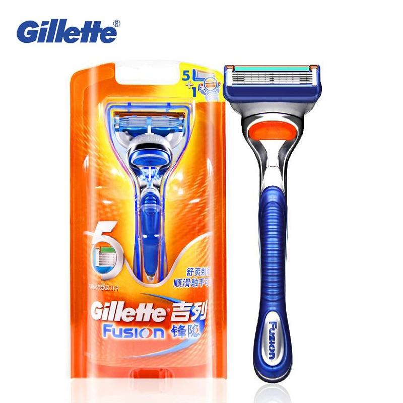 (1 Holder + 1 Blade) Genuine Gillette Fusion Shaving Razor Blades For Men Brands Straight Razor
