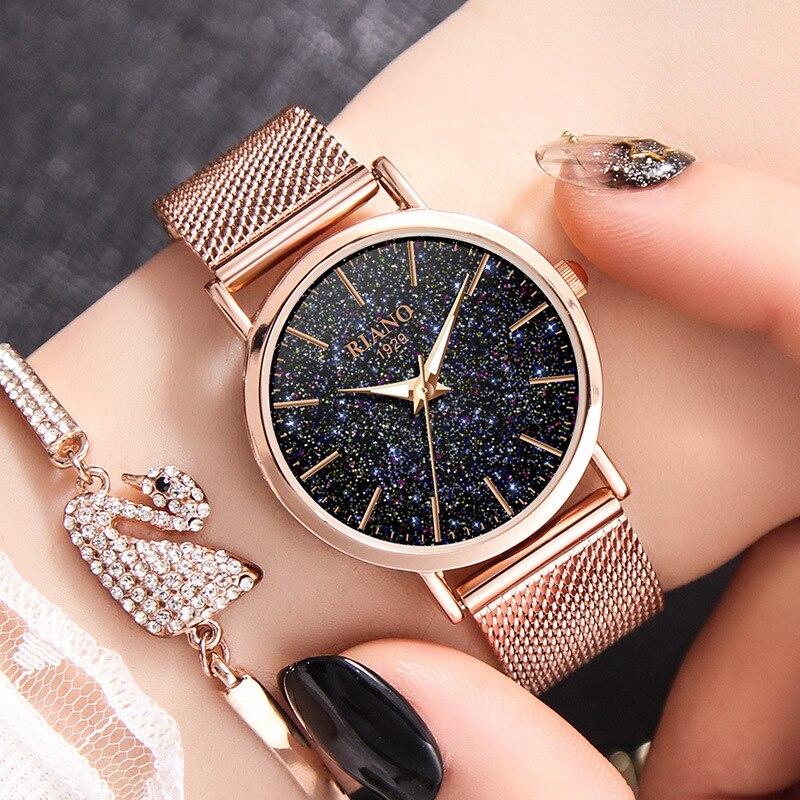 Luxury Rose Gold Women Watches Minimalism Fashion Ladies Quartz Clock Starry Sky Steel Mesh Female Wristwatch relogio feminino