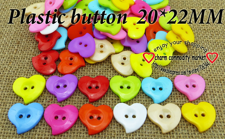 200PCS newly craft heart shape baby button plastic clothing jewelry accessorize P-106