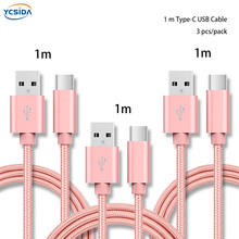 1m (3pcs/pack) Pink nylon braided charging cable for iOS 8pin type c micro usb phone,for iPhone 6 6s huawei xiaomi Samsung