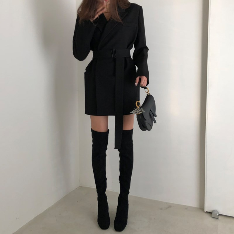 Spring Women Sashes Office Blazer Jacket Solid None Button Work Office Lady Casual Slim Business Blazer Korean Notched Long Coat