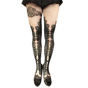 Черные кружевные колготки с принтом, облегающие носки, 100D бархатные, высокая эластичность