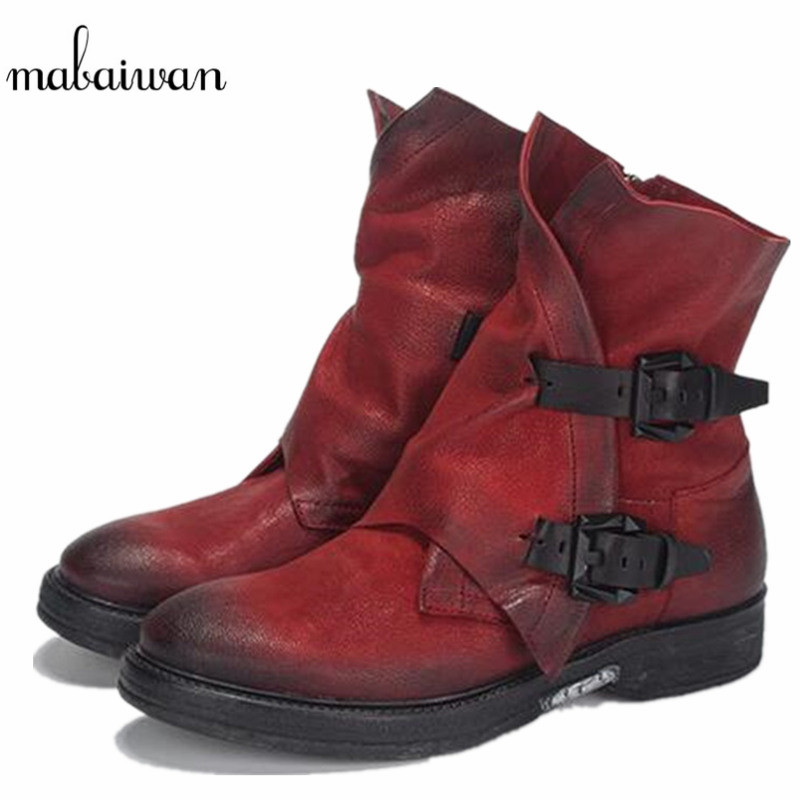 Mabaiwa Fashion Women Shoes Military Cowboy Boots Retro Genuine Leather Shoes Women Winter Snow Ankle Boots Martin Buckle Flats maggie s walker kids boys girls winter boots genuine leather fashion martin boots teenage military ankle boots school shoes