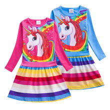 Baby Girls Dresses For Kids Clothes Birthday Party Cosplay Costume Children Cotton Cartoon Rainbow Unicorn Dress