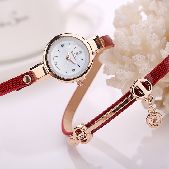 Bracelet Gold Leather Casual Bracelet Watches 5