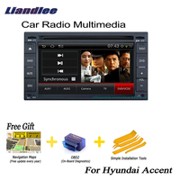 Liandlee 2 din Car Android GPS Navi Navigation Maps For Hyundai Accent 2006~2010 Radio CD DVD Player Audio Video Stereo OBD2 TV