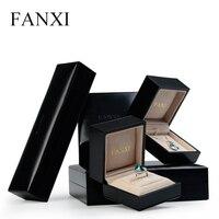 Fanxi lujo de embalaje de cuero negro pulsera brazalete collar cajas al por menor ante beige caja del anillo de la joyería expositor