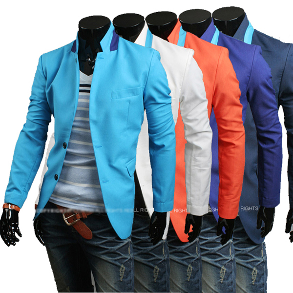 Free Shipping 2013 New Men Brand Name Casual Suit Fashion Slim Jackets Simple Collision Color