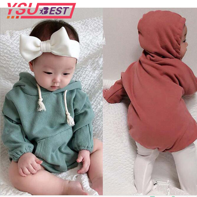2019 Baby Girls   Romper   Winter Coat Clothes Baby Jumpsuit Simple Casual Cotton Velvet Climbing Clothing Hoodie Baby Girl Clothes