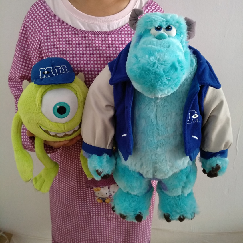 Free shipping Original Monsters University toys,Mike Wazowsk and Sulley Sullivan Monsters Inc Plush dolls for birthday gift 2016new brand cartoon beanie monsters sulley mike inc sullivan sully plush hat cute cap soft kid toy birthday gift for children