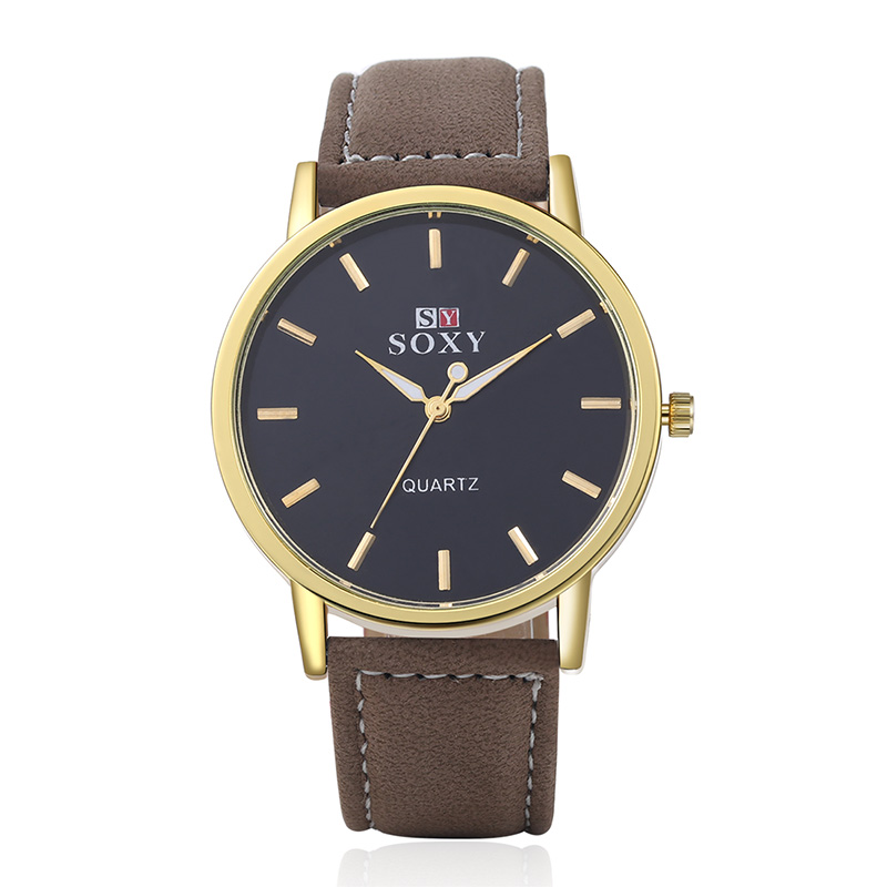 SOXY Brand Fashion Men Necessary Business Watch Luxury Gold Watches Casual Leather Quartz Watch Analog Watch Relogio Masculino ramili видеоняня ramili baby rv1200x2