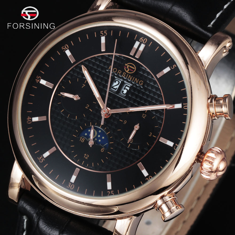 FORSINING Top Brand Luxury Mens Watches Automatic Mechanical Watch Tourbillon Clock Leather Casual Auto Gold Business Wristwatch forsining date month display rose golden case mens watches top brand luxury automatic watch clock men casual fashion clock watch