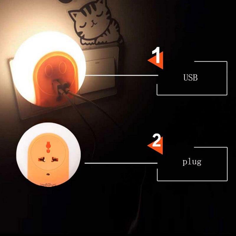 Multifunction Sensor Control Night Light Mini EU Plug Novelty Bedroom lamp 0.5W automatic Light Lamp Colorful LED Night Light