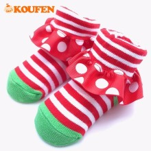 OKOUFEN Striped Cute Style Newborn Infant Baby Socks Polka Dots Soft Pure Cotton Little Kids Floor Non-slip Toddler Socks