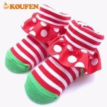OKOUFEN Striped Cute Style Newborn Infant Baby Socks Polka Dots Soft Pure Cotton Little Kids Floor Non-slip Toddler Socks