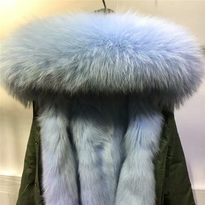 Light Blue Parka Fur Hood
