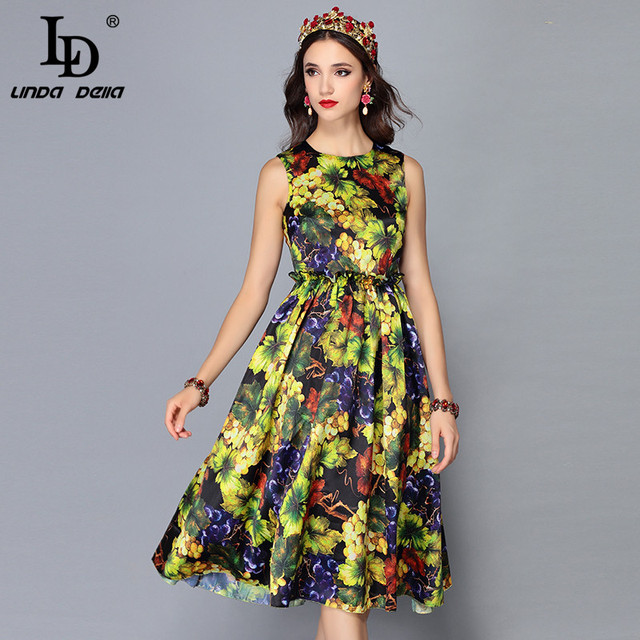 dfba9a5559d71 Aliexpress.com : Buy LD LINDA DELLA 2018 New Fashion Runway Summer Dress  Women's Sleeveless Tank Elegant Floral Print Midi Vintage Dress vestidos  from ...