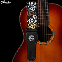 Cartoon Skull Cotton Guitar Straps with Leather End  91-160cm Length for Acoustic Electric Guitar 5cm Width Amumu S1105