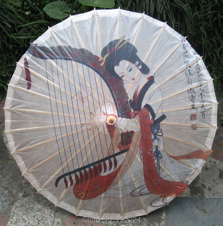 Dia 84cm Chinese Beauty Playing Piano Umbrella Japanese Style Handmade OilPaper Parasol Cosplay Props Wedding Dance Gift Umbrel форма для персонала beauty xin thinking 14b 84