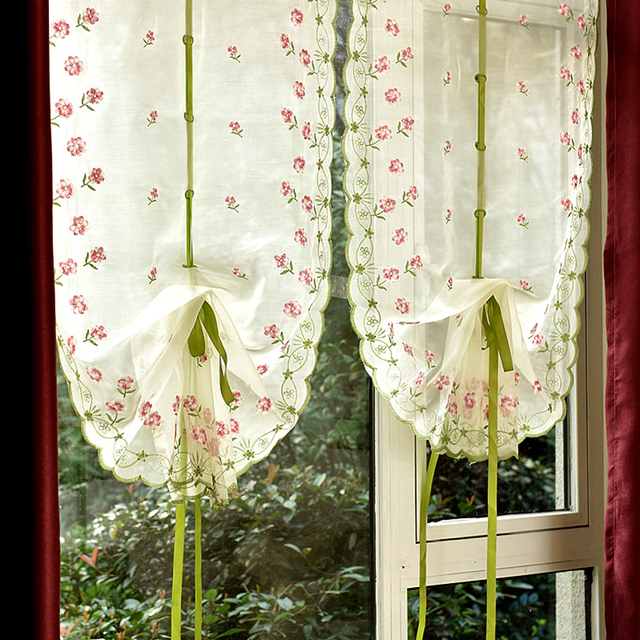 Embroidery Window Tulle Curtains For Living Room Fashion Balloon Curtain Bedroom Pink Rolling