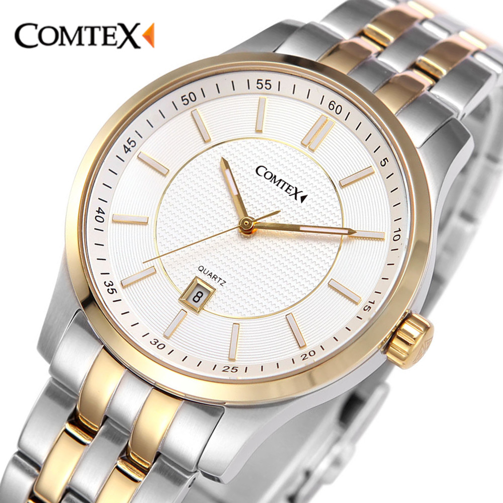 Comtex Luxury Stainless Steel Watch font b Men s b font Wrist Watch Analogue Display font
