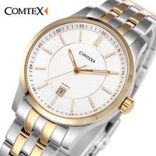 Comtex Luxury Stainless Steel Watch Men's Wrist Watch Analogue Display Quartz Movement Waterproof Calendar Watches