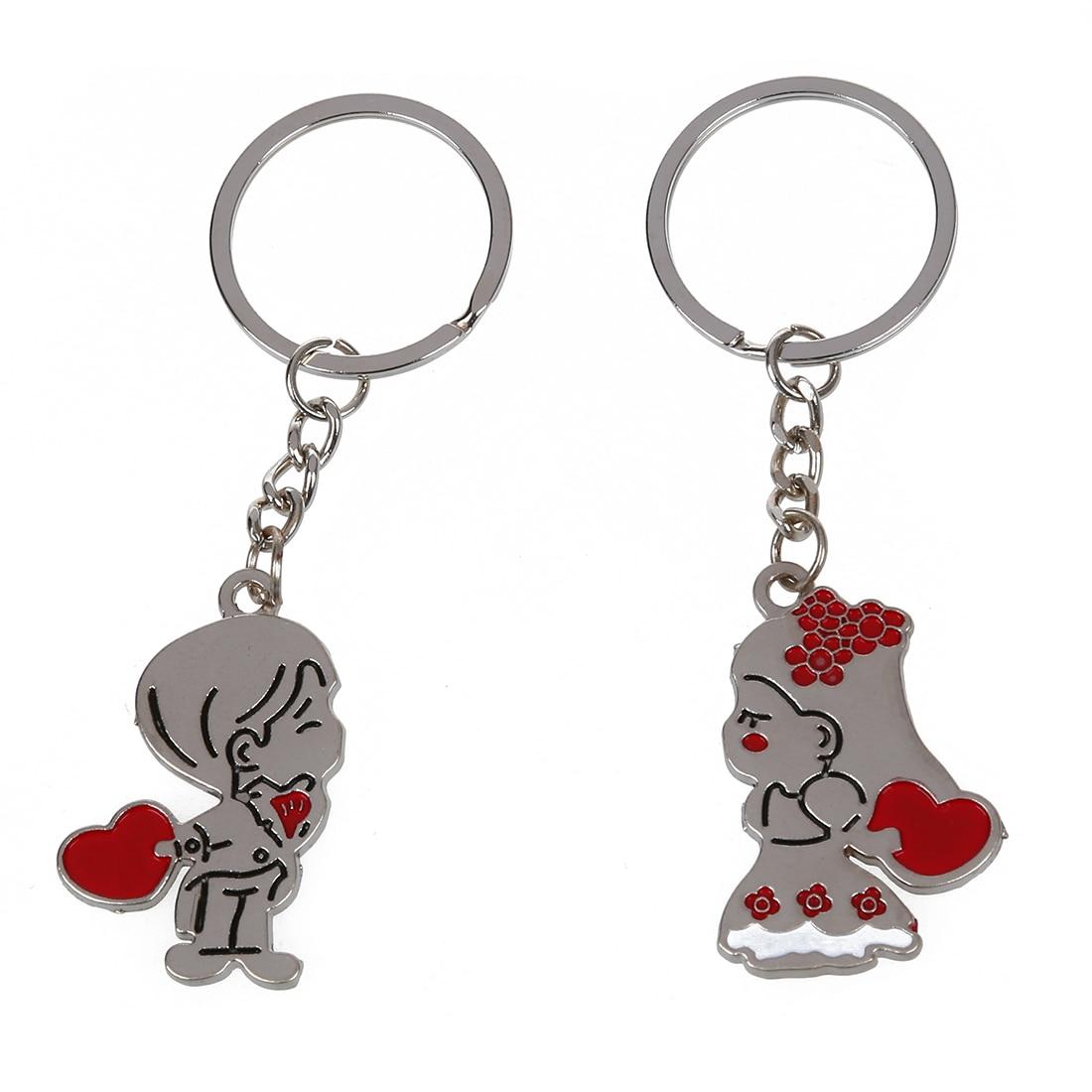 Cute Boy and Girl Loving Heart Keychain, Fashion Metal ...