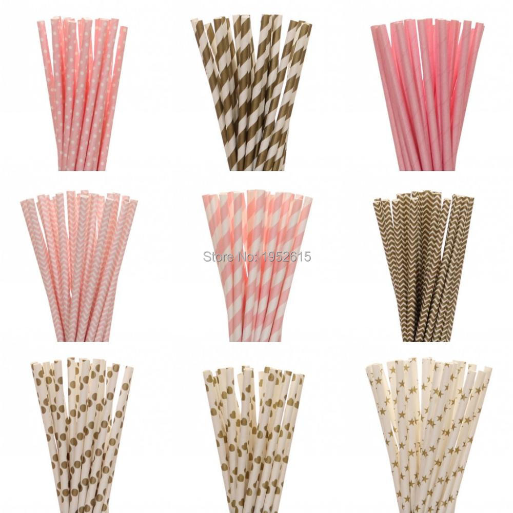 New 25pcs/lot Gold Pink Paper Straws For Kids Birthday Wedding Decoration Party Event Su ...