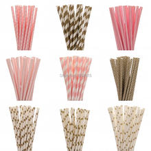 New 25pcs/lot Gold Pink Paper Straws For Kids Birthday Wedding Decoration Party Event Supply Mickey Minnie Mouse Cupcake Flags