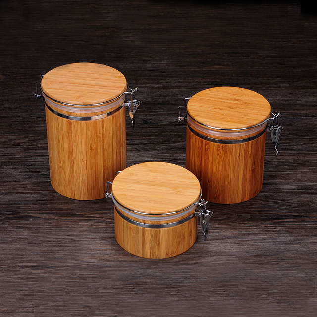 c08c80ea136e Natural Bamboo Cover Sealed Storage Box Cans Seal Pot Jars wooden ...
