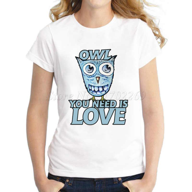 Новая мода 3d Креативный дизайн: подсолнечник, женская футболка с принтом совы, новинка, сова, вам нужна, любовь, базовые Топы, забавная футболка для девочек