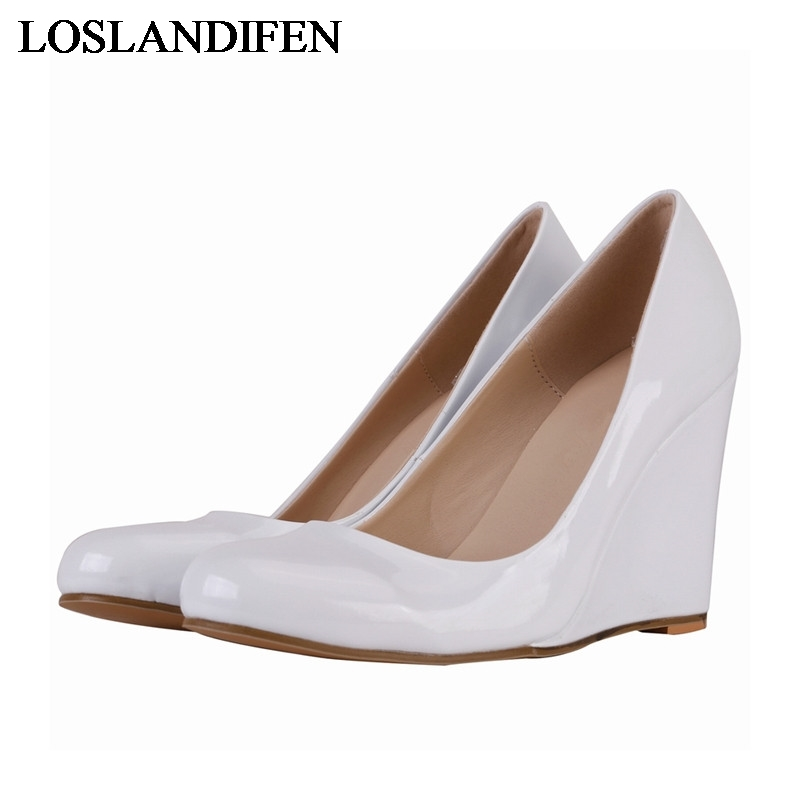 Spring New Patent Leather Fashion Women Pumps Wedges Shoes Pointed Toe Shallow Party Red Shoes White Wedges High Heels NLK-B0030 plus size 34 49 new spring summer women wedges shoes pointed toe work shoes women pumps high heels ladies casual dress pumps