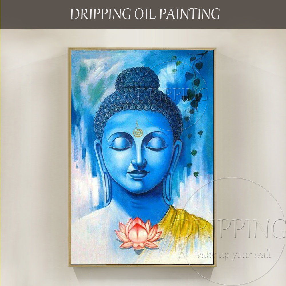 Professional Artist Team Handmade High Quality Indian Buddha Oil Painting on Canvas Impressionist Indian Buddha Oil Painting