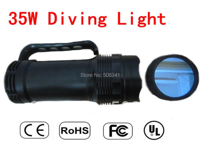 Free Shipping New Arrival Promo Genuine 35W HID White Light Waterproof Diving Flashlight Torch (Black)