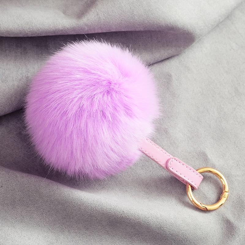 10センチポンポンバニーキーホルダーレザーキーリングのどのウサギの毛皮ポンポンボール女性ガールバッグ車のキーチェーンペンダント装身具llaveros